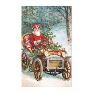 Santa Claus in Automobile Canvas Print