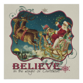 Santa Claus in Flying Sleigh Poster