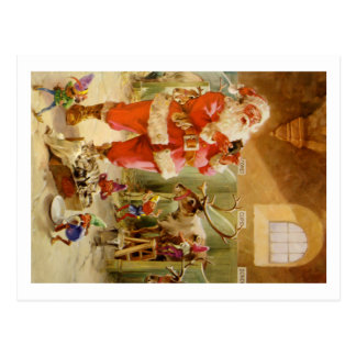 Santa Claus in his North Pole Reindeer Stables Postcard