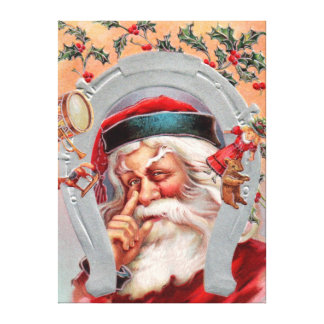 Santa Claus in Horseshoe Stretched Canvas Prints