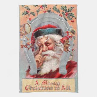 Santa Claus in Horseshoe Kitchen Towel