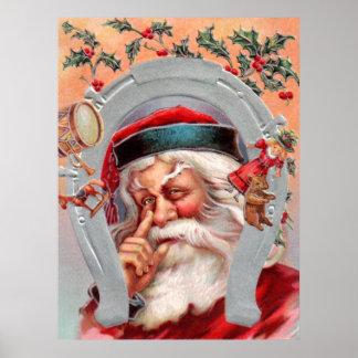 Santa Claus in Horseshoe Poster