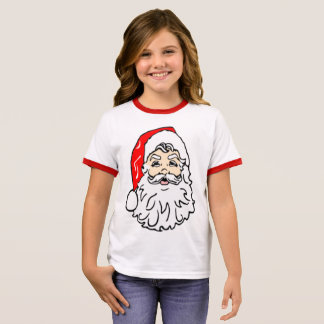 Santa Claus in Red Hat Ringer T-Shirt