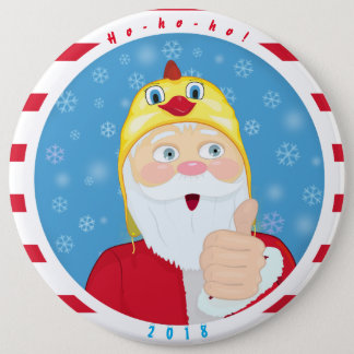 Santa Claus in the chicken hat, thumbs, Christmas 6 Inch Round Button