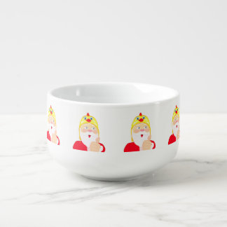 Santa Claus in the chicken hat, thumbs, Christmas Soup Bowl With Handle