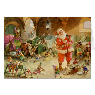 Santa Claus in the North Pole Reindeer Stables Card