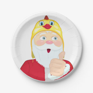 Santa Claus in the rooster hat, thumbs, Christmas Paper Plate