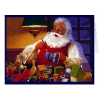 Santa Claus in Toy Shop Big Card