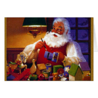 Santa Claus in Toy Shop Greeting Card