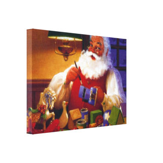 Santa Claus in Toy Shop Stretched Canvas Print