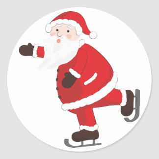Santa Claus is coming in town skiting Classic Round Sticker