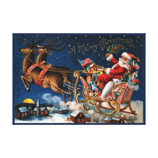 Santa Claus is Comming to Town Stretched Canvas Print