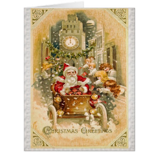 Santa Claus is Driving to Town Big Greeting Card