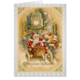 Santa Claus is Driving to Town Greeting Cards
