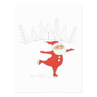 Santa Claus is ice skating POSTCARD