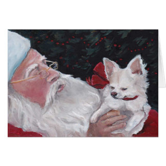 Santa Claus / LH Chihuahua Dog Art Christmas Card
