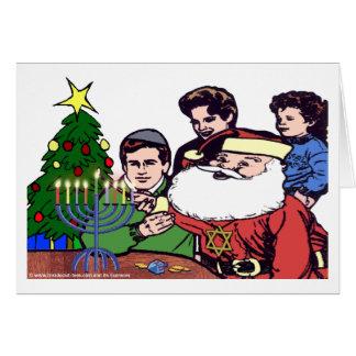 Santa Claus Lighting The Menorah - Xmas Chanukah Card