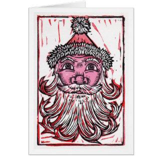 Santa Claus Linocut Art Greeting Card