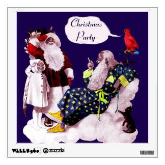 SANTA CLAUS ,LITTLE ANGEL & MERLIN Christmas Party Wall Decal