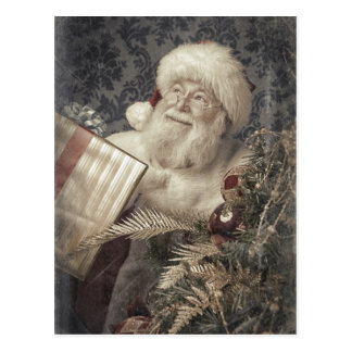 Santa Claus love gifts at Christmas Postcard