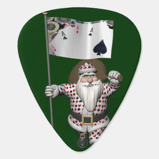 Santa Claus Loves Playing  Poker Guitar Pick