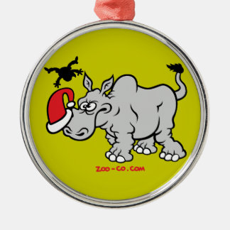 Santa Claus Meets a Rhino Metal Ornament
