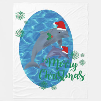 santa claus merry christmas dolphins blanket
