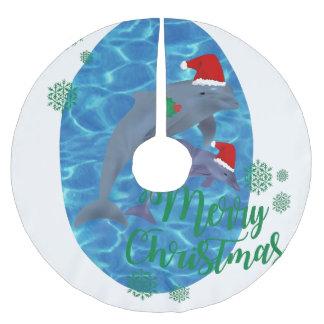 santa claus merry christmas dolphins tree skirt
