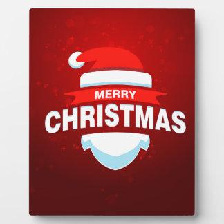 Santa Claus Merry Christmas Xmas Cute Red Plaque