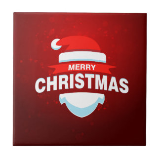 Santa Claus Merry Christmas Xmas Cute Red Tile