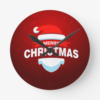 Santa Claus Merry Christmas Xmas Cute Red Wall Clocks