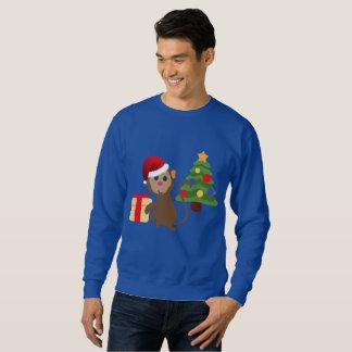 santa claus monkey emoji mens sweatshirt