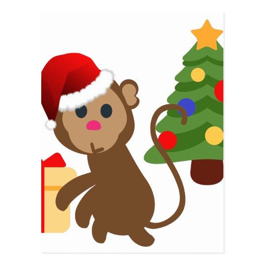 santa claus monkey emoji postcard