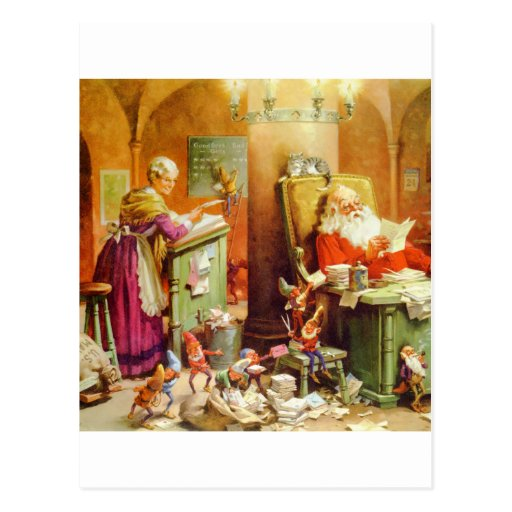 Santa Claus & Mrs Claus in the North Pole Mailroom Postcards