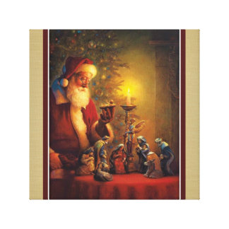 Santa Claus Nativity Christ Child in Manger Stretched Canvas Prints