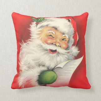 Santa Claus Naughty Nice List Vintage Christmas Throw Pillow