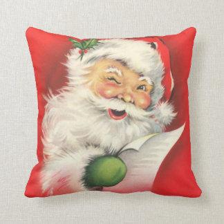 Santa Claus Naughty Nice List Vintage Christmas Throw Pillow