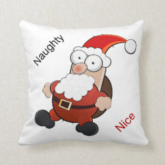 Santa Claus Naughty or Nice Throw Pillow