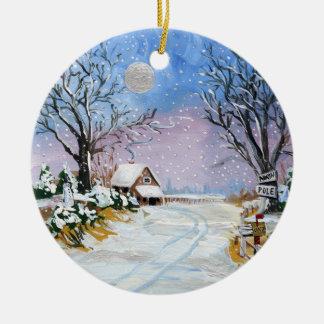 Santa Claus North Pole Ceramic Ornament