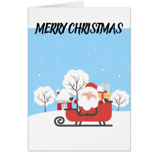 SANTA CLAUS ON A RED SLED. CUTE FATHER CHRISTMAS CARD
