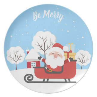 SANTA CLAUS ON A RED SLED. FATHER ChRISTMAS PLATE