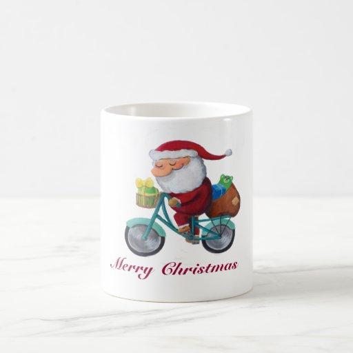 Santa Claus on Bicycle -custom txt- Basic White Mug