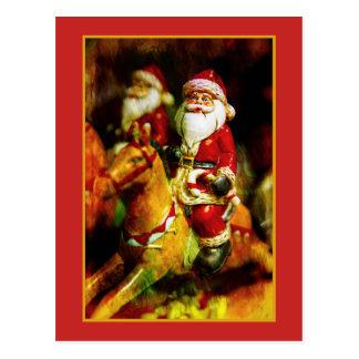 Santa Claus on Carousel Postcard
