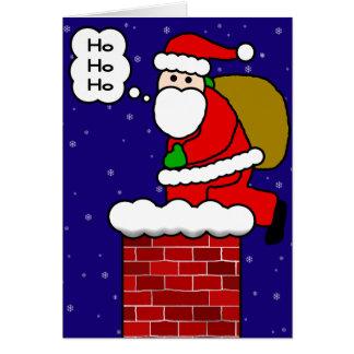 Santa Claus on Chimney Greeting Card