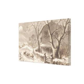 Santa Claus on Christmas Eve Canvas Print