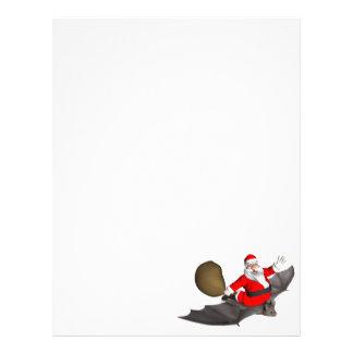 Santa Claus On Flying Bat Personalized Letterhead