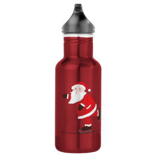 Santa Claus on ice skates 532 Ml Water Bottle