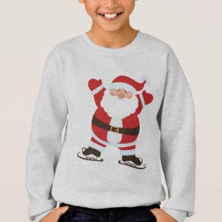 Santa Claus on Ice Skates Cute Cartoon Sweatshirt