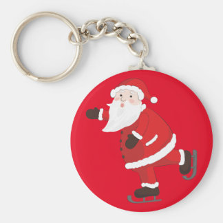 Santa Claus on ice skates Keychain