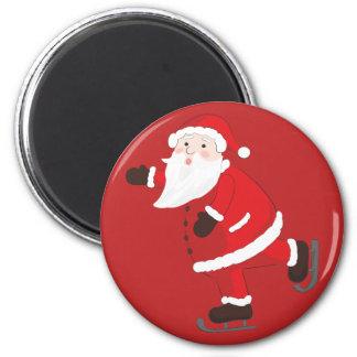 Santa Claus on ice skates Magnet
